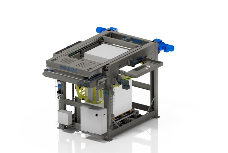 COMPACT PALLETIZING MACHINE WITH INTEGRATED WINDER